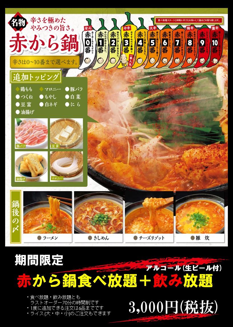期間限定!食べ飲み放題3,000円!